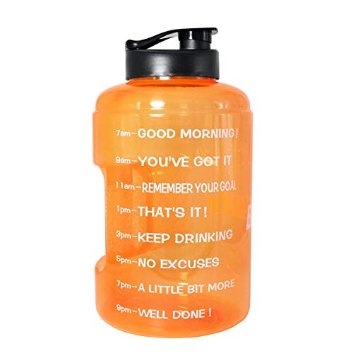1 Gallon(128OZ) Water Bottle Inspirational Fitness Workout Sports Water Bottle with Time Marker Times for Measuring Your H2O Intake, BPA Free Non-Toxic,Leak Proof Lid (1 Gallon, ()