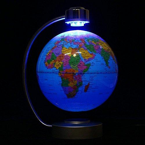 Globes World, 8'' Magnetic Floating Globe With LED Light - Anti-gravity Levitation Rotating Planet Earth Globe Stylish Home Office Desktop Display Decoration (Blue) by Yosoo (Image #4)