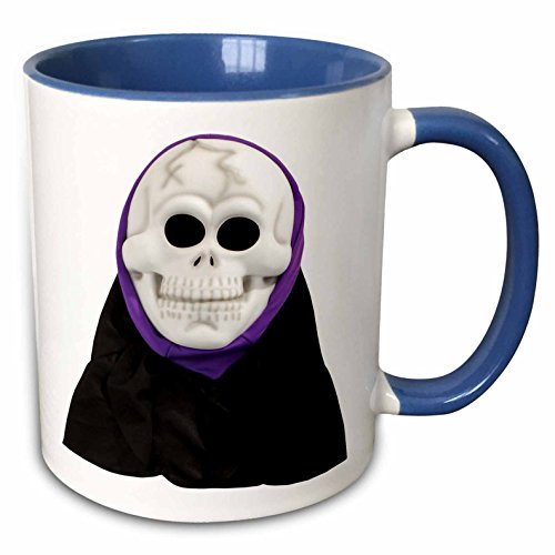 3dRose Blonde Designs Happy and Haunted Halloween - Halloween Scary Skull Mask - 15oz Two-Tone Blue Mug (mug_131334_11) -