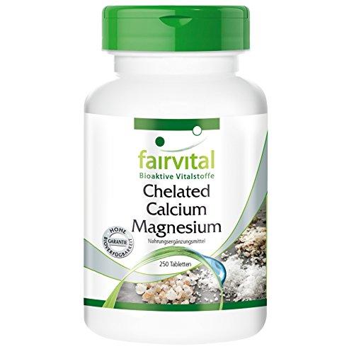 Chelated Calcium Magnesium - 250 Tabletten - Calcium 500mg u. Magnesium 250mg mit Austernschalen, bioverfügbar