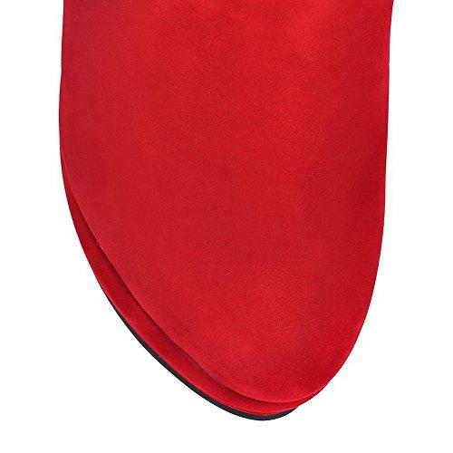 AllhqFashion Mujeres Puntera Redonda Caña Alta Sólido Gamuza(Imitado) Botas Rojo