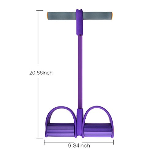 iTECHOR Multifunction Leg Exerciser Sit-up Bodybuilding Expander Elastic Pull Rope Training Equipment - Purple