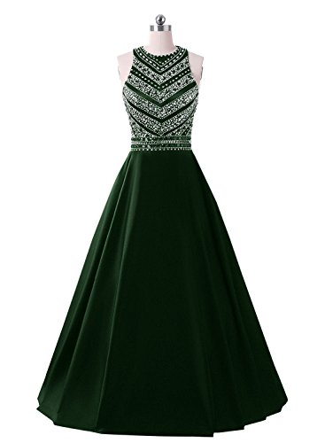Dressytailor A-line Long Satin Beaded Prom Dresses Sequined Evening Gown with Pockets Emerald Green ()
