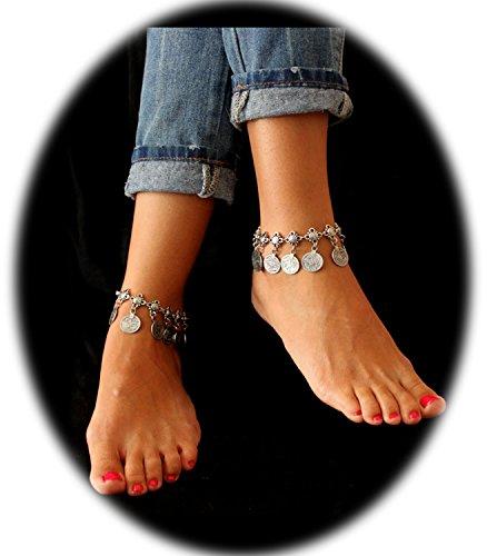 PearlPlus 1 Pair Vintage Boho Style Chain Anklet Coin Tassels Beach Hawaiian Ankle Bracelet For Girls