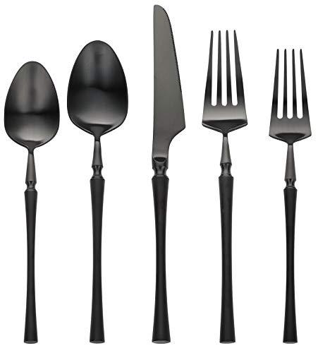 Black Silverware Set, Matte Black Flatware Set, AOOSY Heavy Solid 20-Piece 18/10 Stainless Steel Flatware Cutlery Set for 4, Mirror Finish, Dishwasher Safe, Nice Box Package(A Matte Black Flatware)