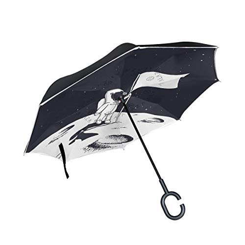 Mr.Lucien Mini Cute Astronaut Reverse Inverted Umbrella, Hand Flags Standing Mars Universe Planet Double Layer Umbrella Windproof Waterproof for Car Outdoor Travel 2021325
