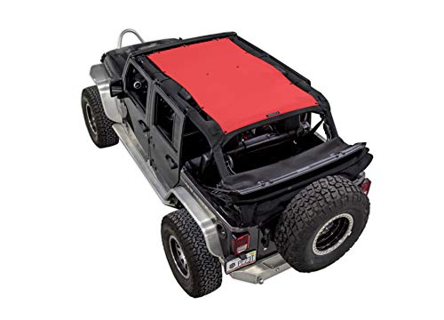 SPIDERWEBSHADE Jeep Wrangler Mesh Shade Top Sunshade UV Protection Accessory USA Made with 5 Year Warranty for Your JKU 4-Door (2007-2017) in ()