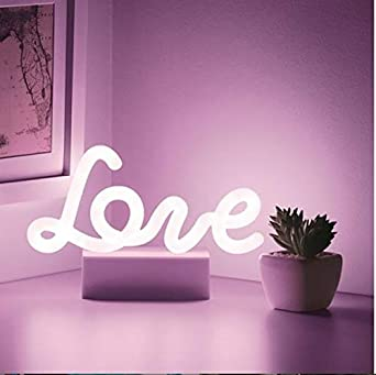 Mood Light with Pedestal,Battery Operated Wall Art,Bedroom Decorations,Bedside Lamp,Home Accessories,Party and Holiday Decor:Neon Red Merkury Innovations 7 inch LED Neon RedOK Sign Night Light