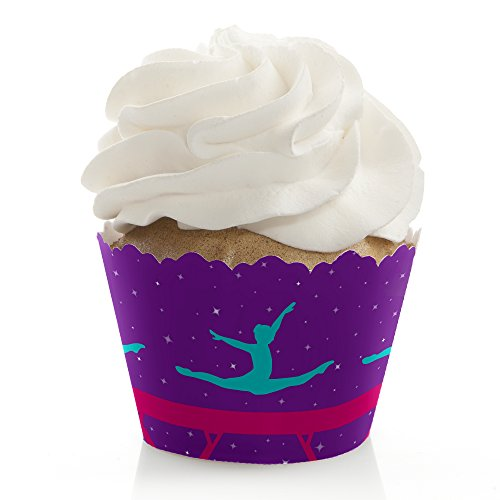 Tumble, Flip & Twirl - Gymnastics - Birthday Party or Gymnast Party Cupcake Decorations - Party Cupcake Wrappers - Set of 12