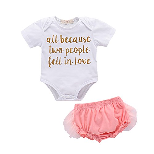 Summer Cloth Set,Buyanputra Lovely Word Print Romper Short Lace Pants Tops (Lovely Word Print)