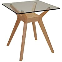 Scandinavian Lifestyle Cosmo Glass/ Wood Side Table