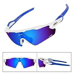 BATFOX Polarized Sport Sunglasses Glasses TAC Running Cycling Baseball Fishing Golf Softball Outdoor for Men Women Youth Interchangeable Lenses Tr90 Unbreakable Frame 100% UV Protection(Blue White)