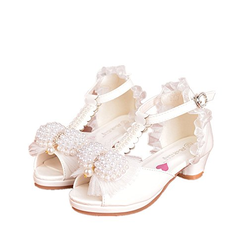 (24XOmx55S99 Girls Bowknot High Heel Sandals Pearl Princess Shoes-(White-11 M US Little Kid))
