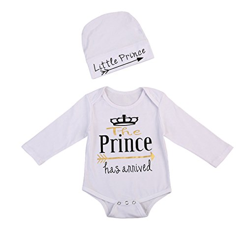 Prince Outfits (Newborn Baby Boy Coming Home Outfit Long Sleeve Prince Bodysuit Romper with Hat Clothes (0-6 Months, White))