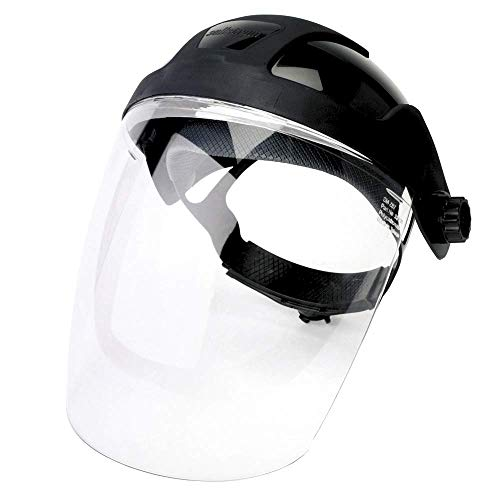Sellstrom Single Crown Safety Face Shield with Ratchet Headgear, Shade 5 IR Tint, Uncoated, Black, S32010