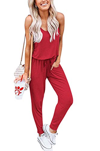 (Meyeeka Ladies Casual Overalls Drawstring Waist Jumpsuit Sleeveless Romper with Pocket L Red)
