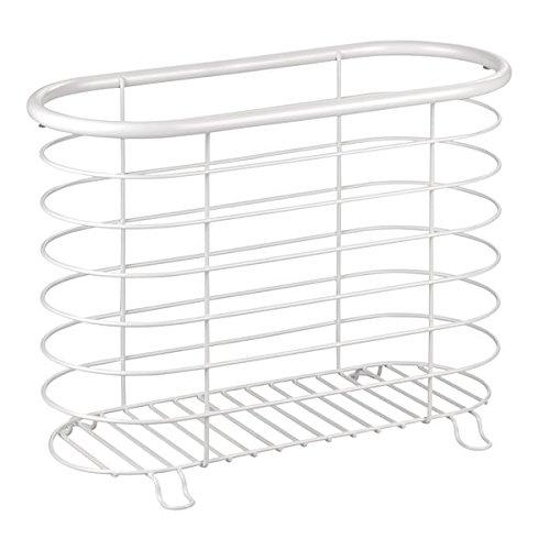 InterDesign Forma Freestanding Wire Magazine Rack Organizer for Bathroom, Office, Den – Matte White