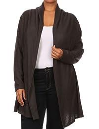 2LUV Plus Women's Draped Long Sleeve Open Front Cardigan