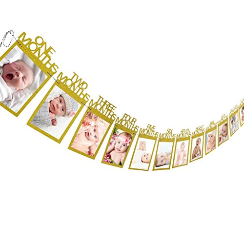 LtrottedJ Kids Birthday Gift Decorations 1-12 Month Photo Banner, Monthly Photo Wall (Gold) ()
