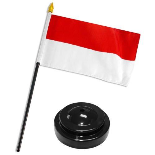 Moon Knives Indonesia 4''x6'' Flag Desk Set Table Stick Black Base - Party Decorations Supplies For Parades - Prime Outside, Garden, Men Cave Decor Flag