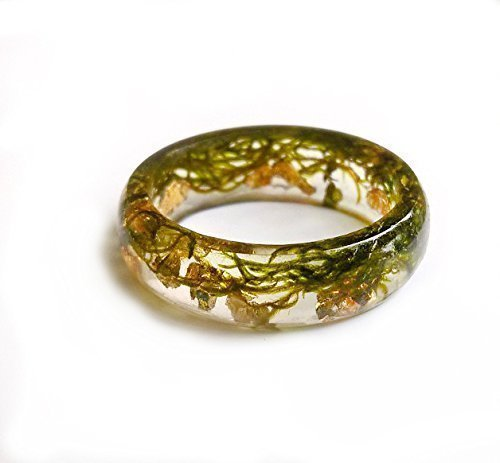 Natural green moss resin ring with golden flakes touch of nature - natural plant ring -real flower resin ring - resin jewelry - gift for sister - gift for mother - sympathy gift - forest wedding ring
