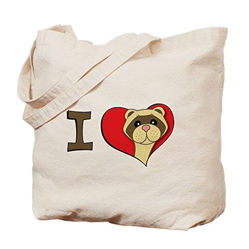 - CafePress I Heart Ferrets Natural Canvas Tote Bag, Cloth Shopping Bag