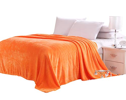 Solid Flannel Plush Throw Blankets, Bed Blanket Twin Full Queen Size (Twin, Orange)