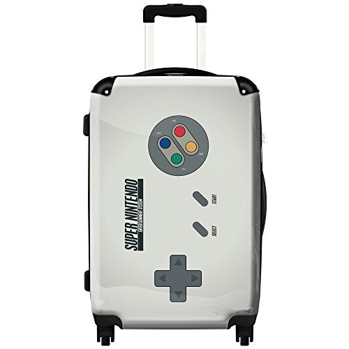 Price comparison product image 24-Inch Boys Gamers Super Nintendo Theme Travel Luggage 1-Piece, Console Gaming Print, Stylish Fashionable, Lightweight, Hard shell, Hardsided, Upright Rolling Carry On Suitcase, Vivid Grey Multi