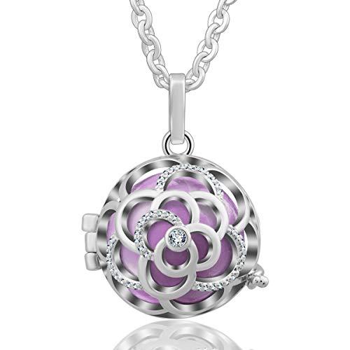 EUDORA Harmony Bola 20mm Rose Angel Chime Caller Pendant Rhinestone Mexico Pregnancy Necklace, 30