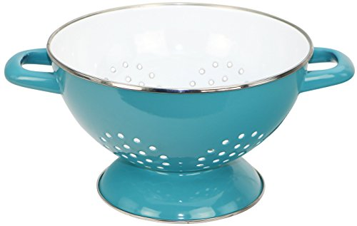 - Calypso Basics by Reston Lloyd Heavy Gauge Enamel on Steel Two-Tone Colander, Turquoise, 3 Quart