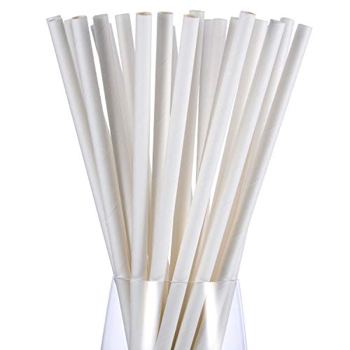 Jovitec 250 Pack Halloween Paper Drinking Straws No Dye Biodegradable Paper Straws Bulk for Juices, Shakes, Smoothies, Party Supplies Decorations (White) -