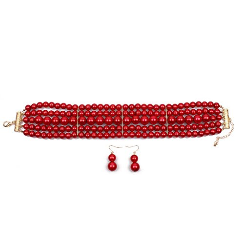 NA KOSMOS-LI 5 Layer Red Imitate Pearl Choker Necklace (Strand Set Choker)