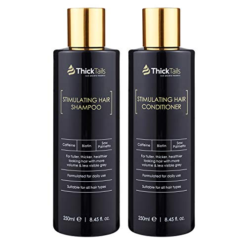 ThickTails DHT Blocker Dual Pack - Anti Hair Loss, Growth, Thickening, Regrowth Shampoo and Conditioner Treatment for Women With Thinning From Menopause, Stress, Postpartum Recovery. Biotin, Caffeine