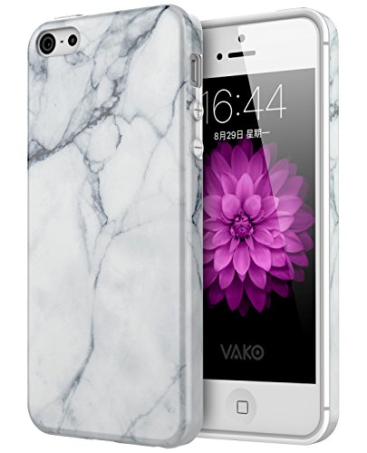 VAKO for iPhone 5s Case White Marble Design Slim Shockproof Soft TPU Bumper Silicon Cover for iphone5 5s SE (White)