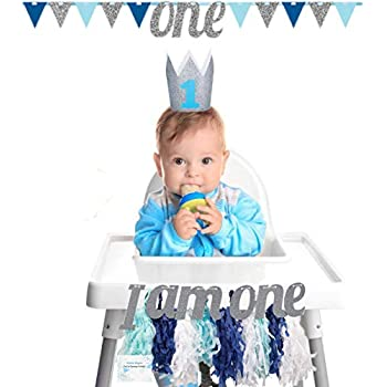 a6be129f5c1 Amazon.com  1st Birthday High Chair Decorations Baby Boy - High ...