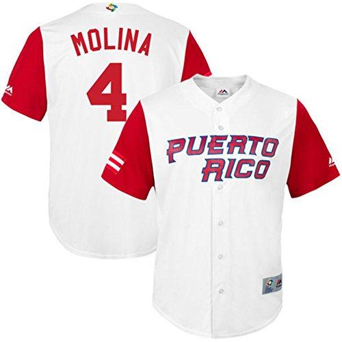 Men's Yadier Molina Jersey 2017 World Baseball Classic Jerseys Puerto Rico White XL