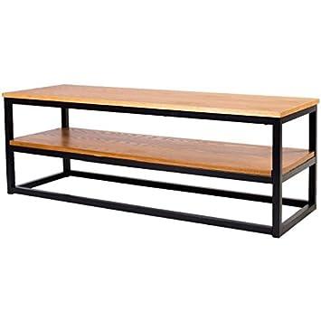 LEON Meuble TV industriel en métal époxy noir + plateau placage bois ...