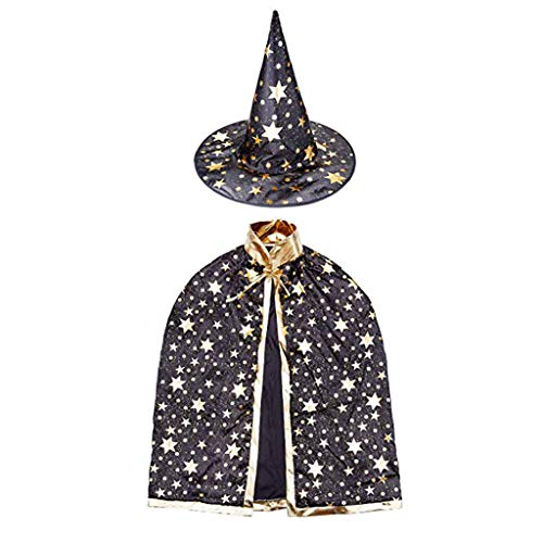 Yuhqc Halloween Cloak Child Witch Wizard Custome Halloween Wizard Hat, Hooded Cosplay Party Cloak Wizard Robe(Black)