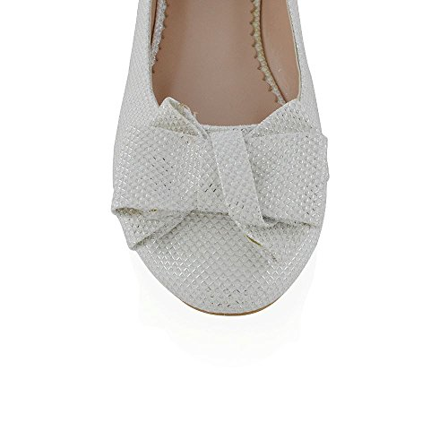 Décolleté Da Donna In Essex Glam Color Glitter, Slip On Flat Ballerina Pumps White Glitter