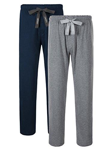 (Genuwin Men's 2 Pack Sleep Pants Cotton Lounge Pants Jersey Knit Pajama Pants Big and Tall Pajama Bottoms S~XL (Navy Blue+Heather Gray, X-Large))