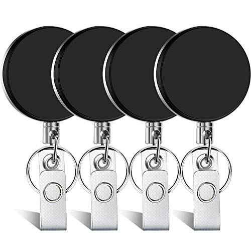 Selizo 4 Pieces Retractable Badge Holder ID Badge Holder Heavy Duty Badge Reel with Keychain Ring Clip for ID Key Card - Clip Stainless Badge Steel