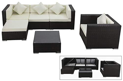 OUTFLEXX Lounge Sofaset Sessel + Hocker + Beistelltisch klarer Glasplatte, aus hochwertigem Polyrattan in braun für 5 Personen, inkl. Polster-Kissen und Kissenboxfunktion, wetterfest