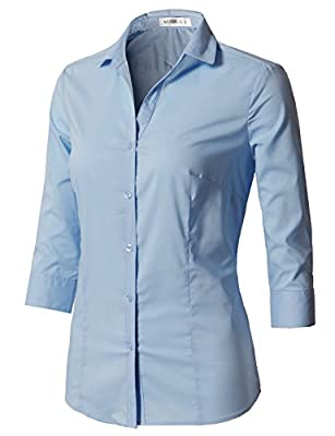 CLOVERY Women's Formal Wear 3/4 Sleeve Simple Slim Fit Button Down Shirt