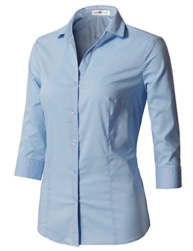 CLOVERY Womens Formal Wear 3/4 Sleeve Simple Slim Fit Button Down Shirt