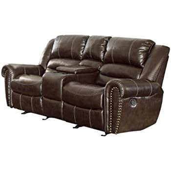 Homelegance 9668BRW-2 Double Glider Reclining Loveseat with Center Console Brown Bonded Leather  sc 1 st  Amazon.com : double reclining loveseat - islam-shia.org
