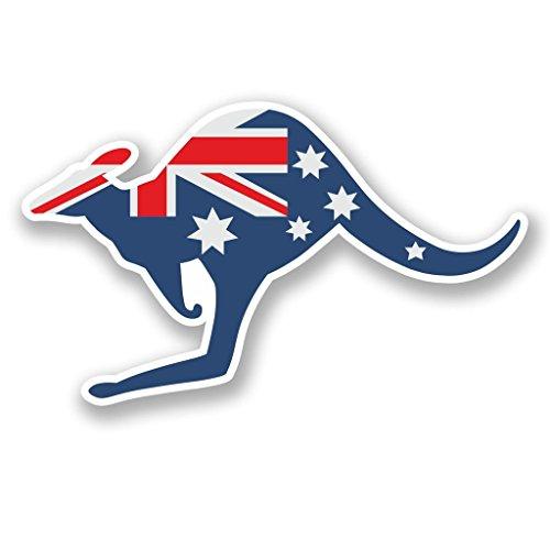 (2 x 10cm/100mm Australia Kangaroo Vinyl Sticker Decal Laptop Travel Luggage Car iPad Sign Fun #5812)