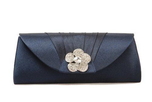 Vivid Handtasche Clutch aus Satin Plissee Rose aus Strasssteinen, Marineblau