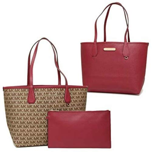 - Michael Kors Candy LG Reversible PVC Signature Tote in Beige, Ebony and cherry