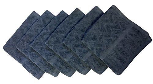 - Metro 100% Cotton Chevron Washcloths - 6-Pack (Smoke Blue)