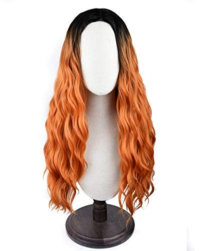 SEIKEA Long Curly Ombre Wig for Women Orange Synthetic Hair Heat Resistant 27 Inch